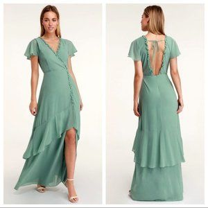 Lulus Pour The Champagne Sage Ruffled Maxi Dress